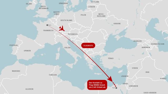 Flugrouten Karte.Karte Die Flugroute Von Ms804 Panorama Suddeutsche De