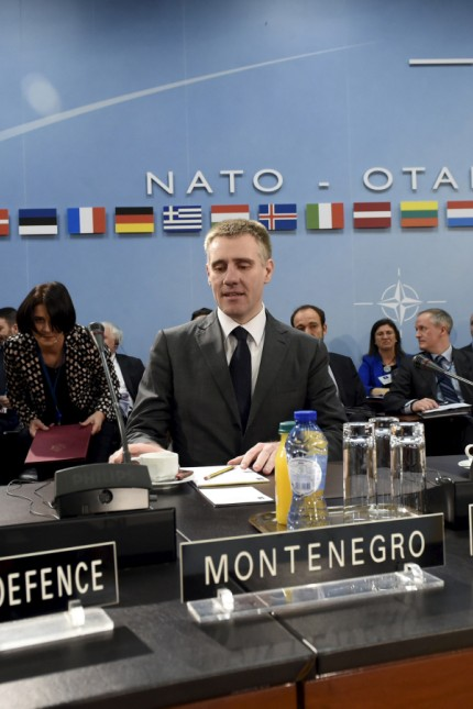 Minister of Defense of Montenegro Pejanovic and Foreign Minister of Montenegro Luksic and NATO Sec. Gen Stoltenberg take part in a Foreign Affairs meeting at the NATO headquarters in Brussels