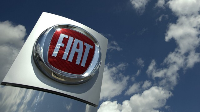 The logo of Italian car maker Fiat is pictured at a sale point in Meyrin near Geneva