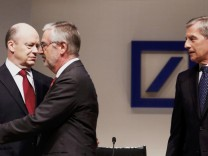 Deutsche Bank CEO Cryan, supervisory board chairman Achleitner and co-CEO Fitschen arrive for the bank's annual general meeting in Frankfurt