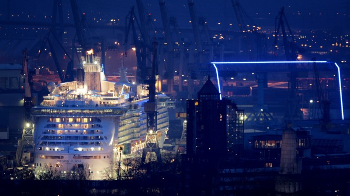General view shows the cruise ship Freedom of the Seas at Blohm + Voss shipyard in Hamburg