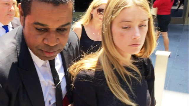 Actress Amber Heard leaves the Superior Court of Los Angeles in Los Angeles