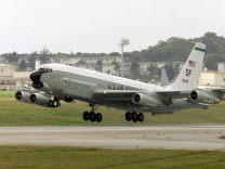 A US RC-135 SPY PLANE TAKES OFF FROM THE US AIR FORCE BASE IN KADENA ON THE JAPANESE ISLAND OF OKINAWA