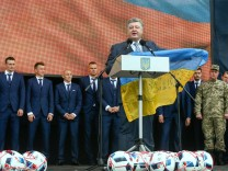Ukrainian National soccer team sending off ceremony in Kiev.