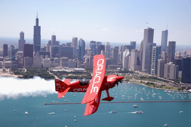 Oracle Flight Team Practices For Aerobatic Manuevers Over Chicago