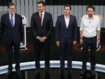 People's Party  leader Mariano Rajoy, Spain's Socialist party leader Pedro Sanchez, Ciudadanos leader Albert Rivera and Podemos leader Pablo Iglesias,  pose at start of a televised debate in Madrid