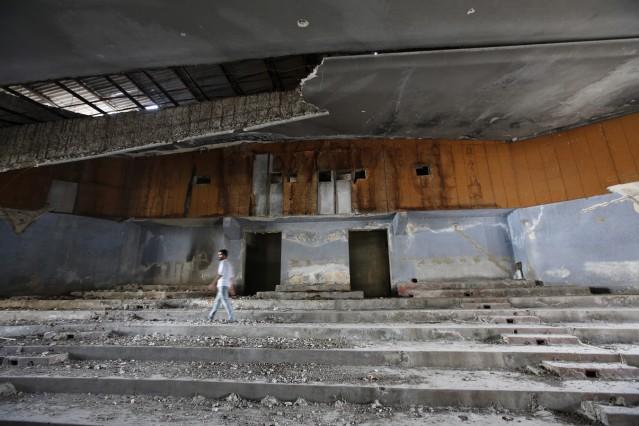 Ruined cinema house in Gaza