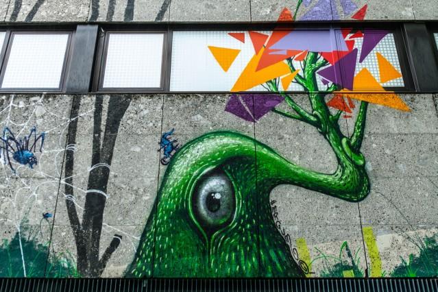 Street-Art-Projekt im Quiddezentrum in Neuperlach. Künstlerkollektiv Der blaue Vogel.
