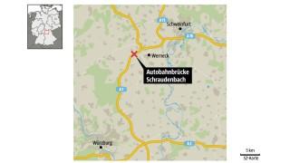 Autobahnbrücke Unglück in Unterfranken