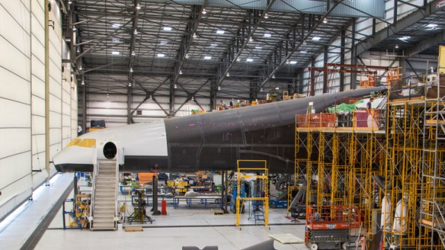 Handout photo of Vulcan Aerospace's Stratolaunch rockets' left fuselage under construction in Mojave, California