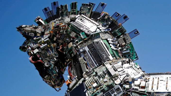 A close-up of the head of a 'Cyber Horse', made from thousands of infected computer and cell phone bits, is seen on display at the entrance to the annual Cyberweek conference at Tel Aviv University