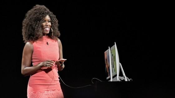 Bozoma Saint John demonstrates updates to Apple Music.