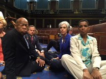 A photo tweeted from the floor of the U.S. House by Rep. Edwards shows Democratic House members staging a sit-in over gun legislation in Washington