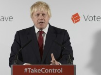 Vote Leave campaign leader Boris Johnson speaks at the group's headquarters in London