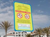 Verbotsschild am Strand Playa de Palma
