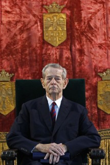 Romania's former king Michael attends a ceremony at Elisabeta palace in Bucharest