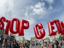 Protest gegen das Handelsabkommen Ceta