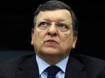 European Commission President Barroso attends a press briefing at the European Parliament in Strasbourg