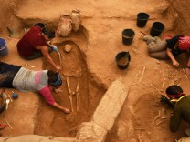 Workers Excavate The Bones Of Philistines In Ashkelon, Israel