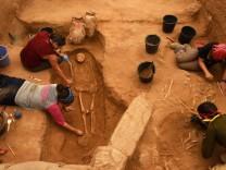 Workers Excavate The Bones Of Philistines In Ashkelon, Israel