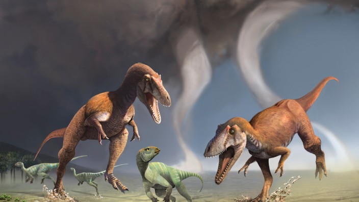 Two Cretaceous Period predatory dinosaurs named Gualicho shinyae hunting smaller bipedal herbivorous dinosaurs in northern Patagonia 90 million years ago