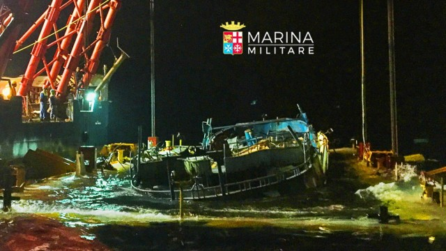 The wreck of a fishing boat that sank in April 2015, drowning hundreds of migrants packed on board is seen in this handout photo provided by Marina Militare