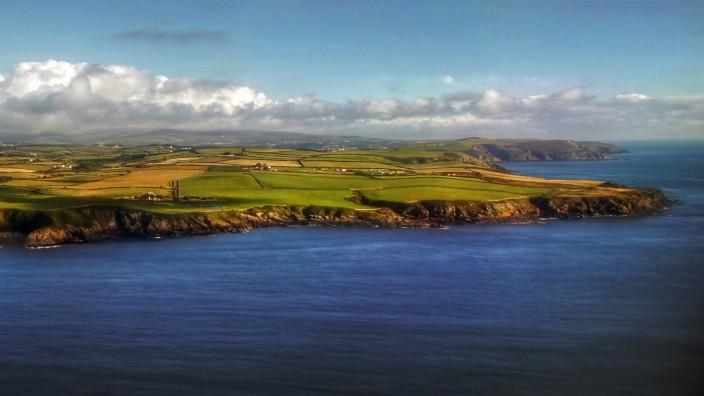 Aerial view of Isle of Man coastline