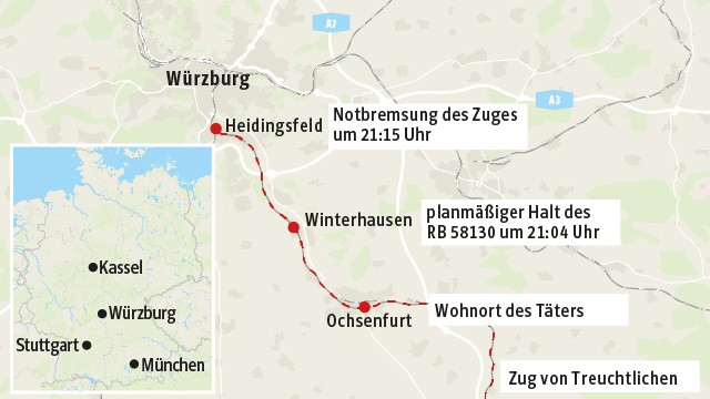 Angriff in Regionalzug bei Würzburg Bei Würzburg