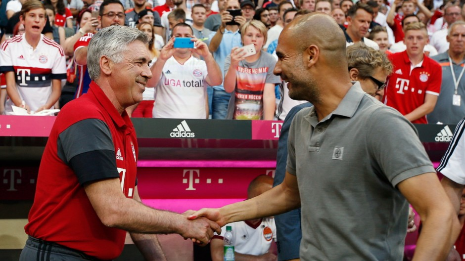 Image result for pep ancelotti friendly
