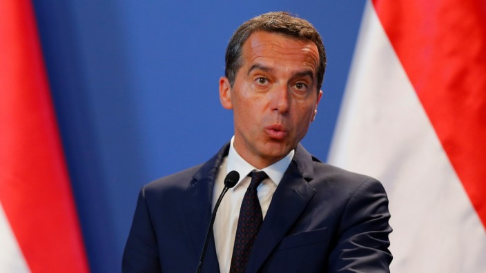 Austrian Chancellor Kern attends a news conference in Budapest