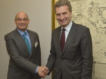 Julian Kinderlerer was received by Günther Oettinger, Member of the EC in charge of Energy