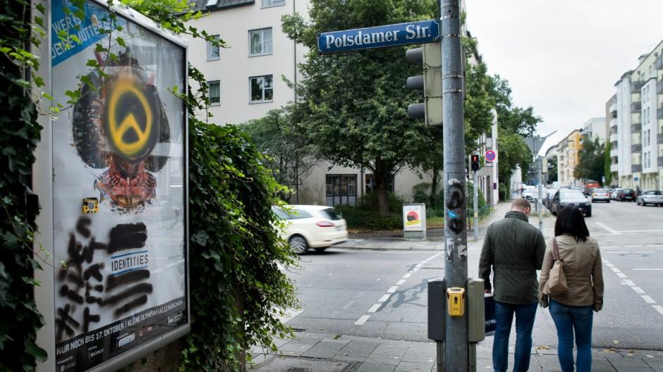 Schmierereien der Identitären Bewegung in Schwabing