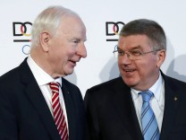 File photo of EOC President Hickey and IOC President Bach in Frankfurt