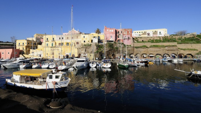 Boats in the harbour at the roman port Ventotene Pontine Islands Italy 2008 PUBLICATIONxINxGERxSU