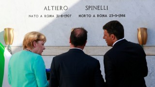 Italian Prime Minister Renzi, German Chancellor Merkel and French President Hollande pay respect at the grave of Spinelli on Ventotene island