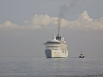 Cruise liner Crystal Serenity arriving in Liverpool on the River Mersey England July 2011 All non