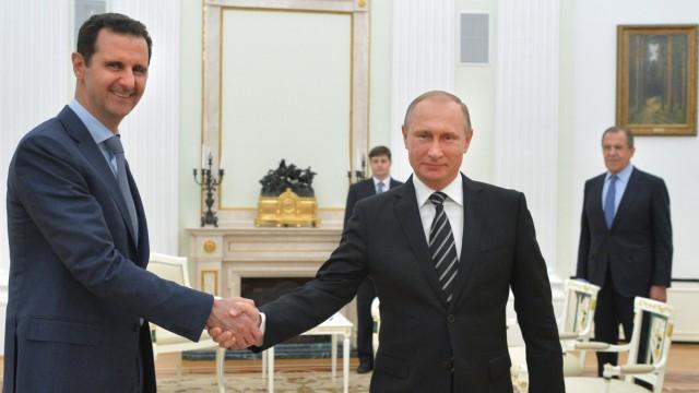 Treffen des syrischen Machthabers Baschar al-Assad mit Wladimir Putin in Moskau im Oktober 2015