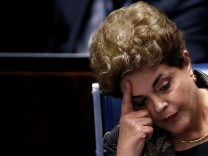 Brazil's suspended President Dilma Rousseff attends the final session of debate and voting on Rousseff's impeachment trial in Brasilia