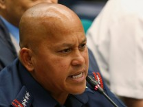 Philippine National Police chief Director-General Ronald dela Rosa testifies regarding people killed during a crackdown on illegal drugs, at a Senate hearing in Pasay, Metro Manila