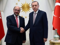 Turkish President Erdogan meets with European Parliament President Schulz at the Presidential Palace in Ankara