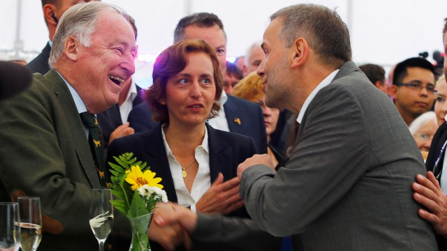 Top candidate Holm, Gauland and Storch of the anti-immigration party Alternative for Germany (AfD) react after first exit polls during the Mecklenburg-Vorpommern state election at the party post election venue in Schwerin