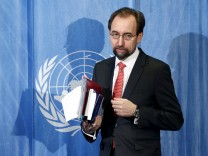 U.N. Human Rights High Commissioner Zeid Ra'ad Al Hussein arrives for a media briefing in Geneva, Switzerland