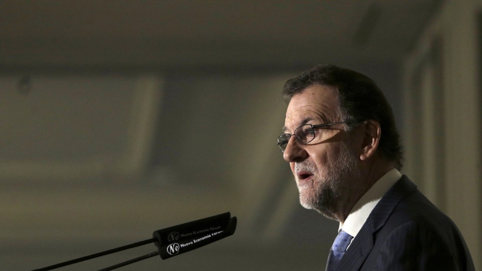 Spanish acting Prime Minister Mariano Rajoy briefing in Madrid