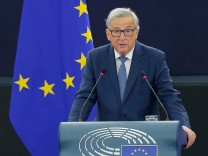 European Commission President Juncker addresses the European Parliament during a debate on The State of the European Union in Strasbourg