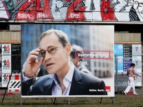 Election poster of top candidate of Social Democratic Party and Mayor of Berlin Mueller is pictured in Berlin