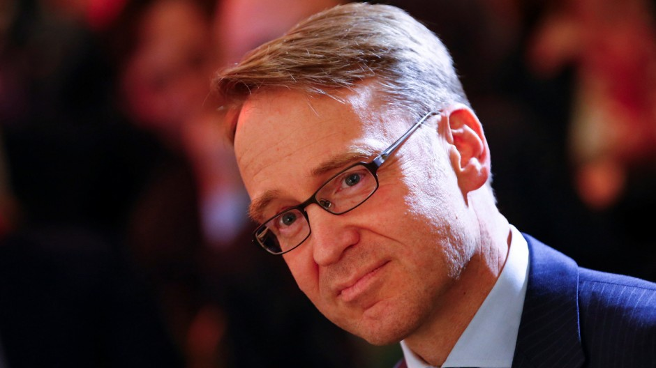 President of the Deutsche Bundesbank Weidmann looks on during a meeting in Rome