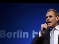 SPD top candidate Mueller reacts on first exit polls in Berlin