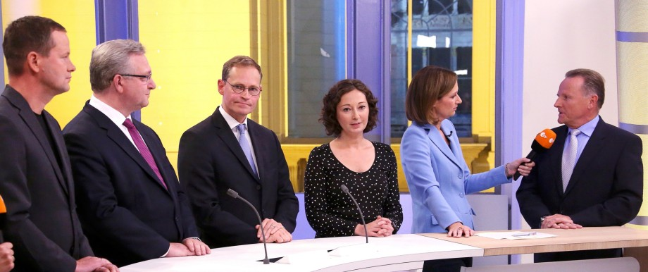 Top candidates of the Berlin state elections meet in a TV studio at the Berlin state assembly