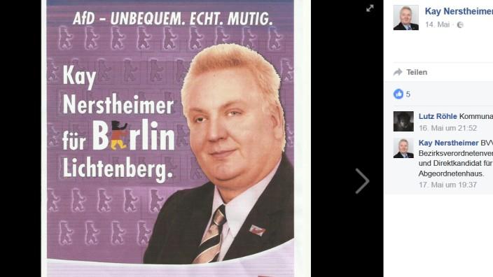 Wahlplakat von Kay Nerstheimer Facebook-Profil von AfD-Politiker Kay Nerstheimer