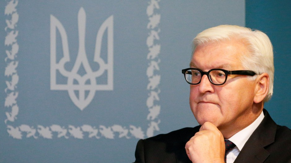 German Foreign Minister Steinmeier of Germany meets with media in Kiev